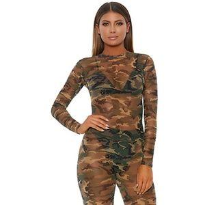Camouflage Sheer Mesh Long Sleeve Catsuit Zip Back